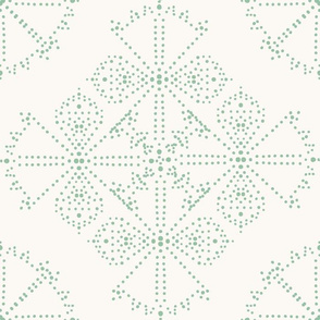 Delicate Dotty Fans - Sage and Cream