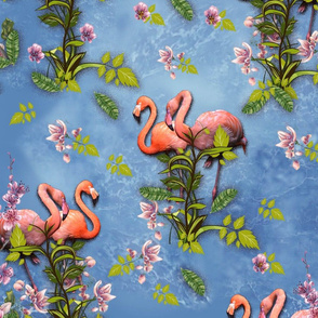 Pink flamingos green leaves on L blue marble