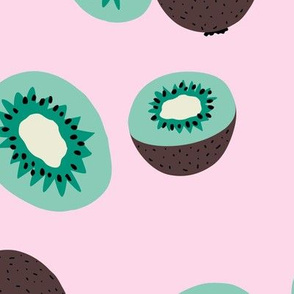 Fresh kiwi garden Scandinavian style fruit design green pink LARGE