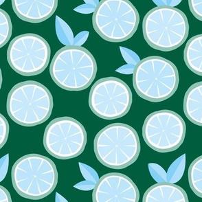 Summer boho citrus garden little lime and orange slices minimal fruit design forest green mint blue