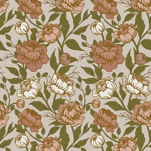 Chintz floral dusty rose on grey - Small