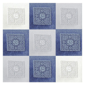 Old Rose Lace Nine-Patch in Indigo, White, Mist Gray