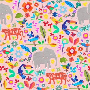 Tropical jungle print with elephant, birds, tiger and toucan in pink