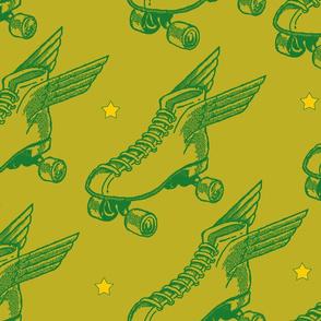 Flying Skates Chatreuse Green Star Large