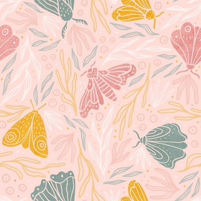 Elegant moths and summer plants