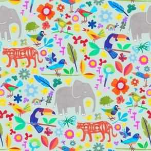 Tropical jungle pattern mint large scale