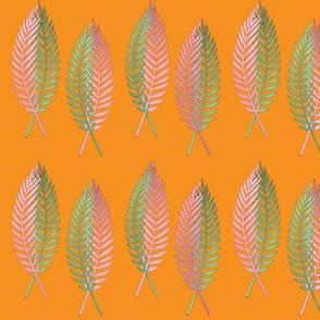 Tropical Fern Pattern  On Orange