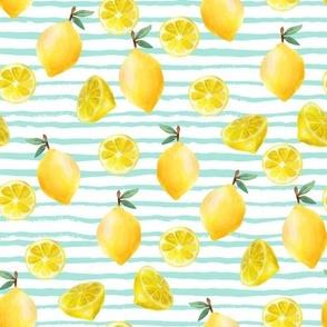 lemon watercolor fabric - watercolor fabric, citrus fruit fabric, lemons fabric, lemon -  mint stripe