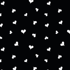 polka dot white hearts on black