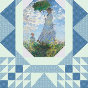 """Monet's """"Woman with a Parasol"""" Cheater Quilt"""