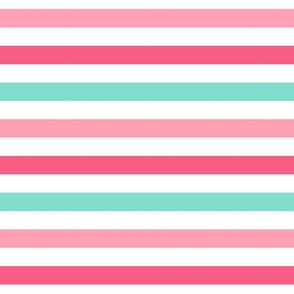 stripes .5 half inch horizontal girl dress american toy dolls mary ellen inspired stripe in aqua, pink, dark pink combo