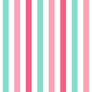 stripes .5 half inch vertical girl dress american toy dolls mary ellen inspired stripe in aqua, pink, dark pink combo