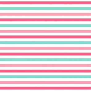 stripes .25 quarter inch horizontal girl dress american toy dolls mary ellen inspired stripe in aqua, pink, dark pink combo