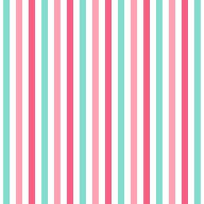 stripes .25 quarter inch vertical girl dress american toy dolls mary ellen inspired stripe in aqua, pink, dark pink combo