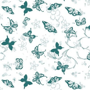 Butterfly Garden - Teal on White