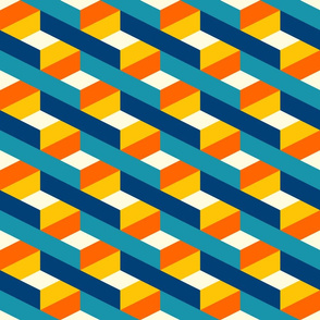 3D optical lines check teal orange Fabric