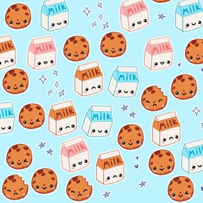 Milk and Cookies on Blue
