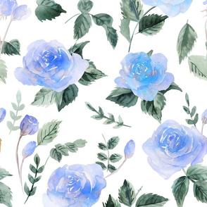 watercolor blue rose - large