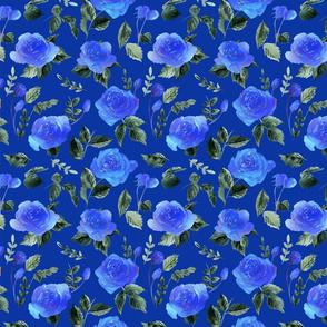 watercolor deep blue rose