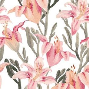 lilly garden watercolor