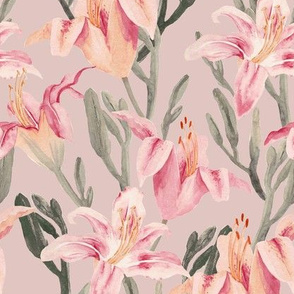 lilly garden watercolor -pink