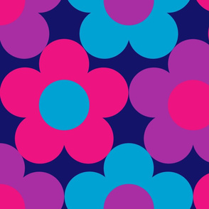 BOLD Daisies Pink Purple Blue on navy