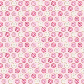 Iced Donuts Pink - on light pink, 0.5 inch donuts