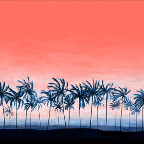 Palms at beach with sunset