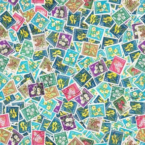NZ stamps - flora - actual size