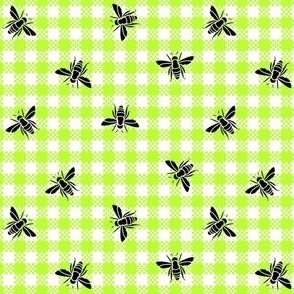 bees on gingham