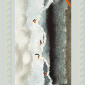 Abstract ocean surfer vertical seamless