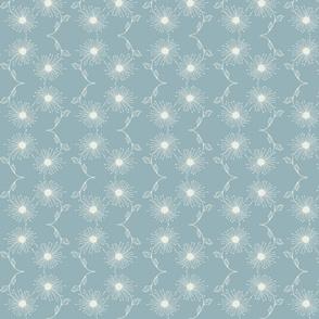 Wishing away dandelion wave- blue gray
