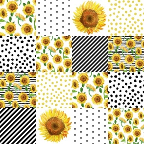 "sunflower quilt - 6"" squares nursery baby girl sunflowers, cheater quilt fabric, sunflower quilt fabric, floral quilt"