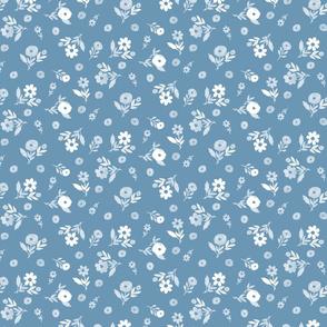 roller skate floral coordinate blue