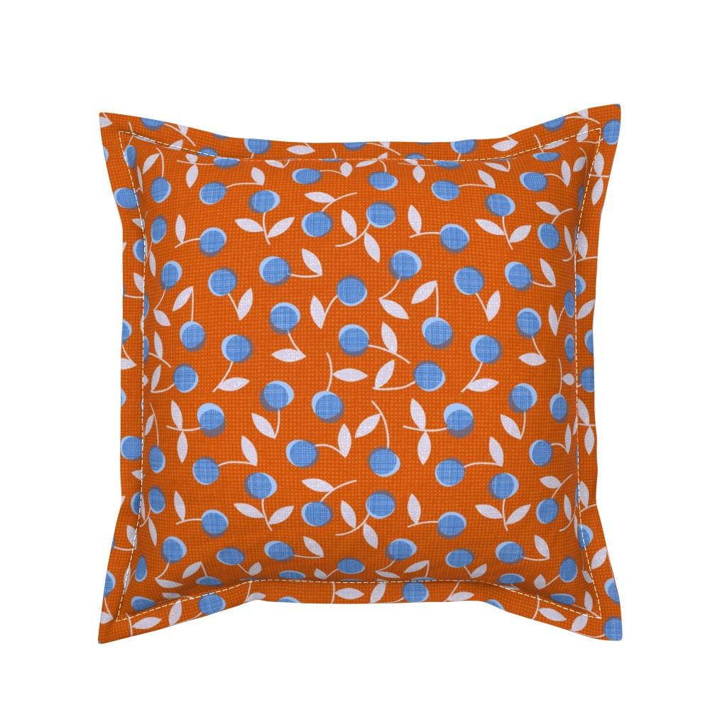 Serama Throw Pillow featuring Modern dotty flowers-orange by ottomanbrim