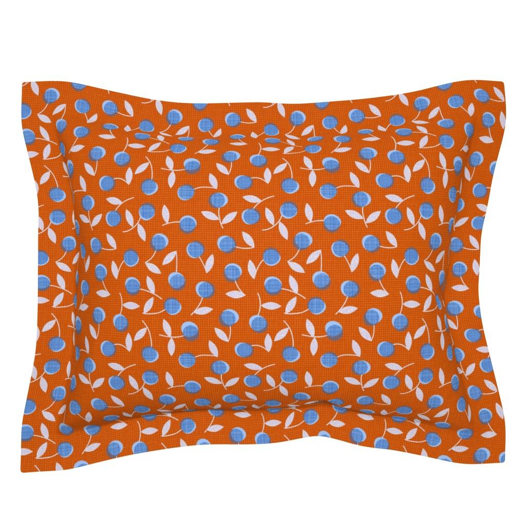 Sebright Pillow Sham featuring Modern dotty flowers-orange by ottomanbrim