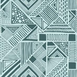 Modern geometric - pine and mint