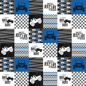3 inch Jeep//Blue - Wholecloth Cheater Quilt