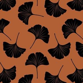 Minimal love ginkgo leaf garden japanese botanical spring leaves rust black