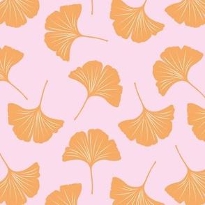 Minimal love ginkgo leaf garden japanese botanical spring leaves pink orange