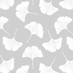 Minimal love ginkgo leaf garden japanese botanical spring leaves soft neutral nursery gray white