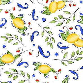 Italian Inspired Lemons Leaves and Swirls