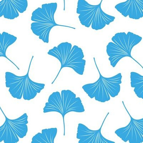 Minimal love ginkgo leaf garden japanese botanical spring leaves soft neutral nursery blue