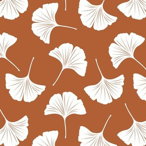 Minimal love ginkgo leaf garden japanese botanical spring leaves soft neutral nursery rust copper white