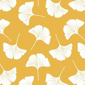 Minimal love ginkgo leaf garden japanese botanical spring leaves soft neutral nursery white ochre yellow