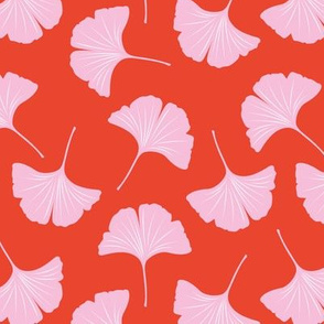 Minimal love ginkgo leaf garden japanese botanical spring leaves soft girls nursery red pink