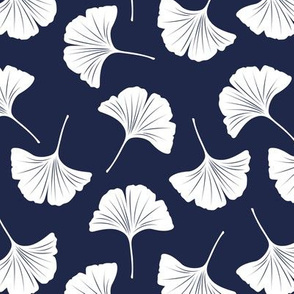Minimal love ginkgo leaf garden japanese botanical spring leaves soft neutral nursery navy blue