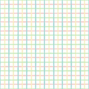 Pastel Check Pink Blue Green Yellow on White