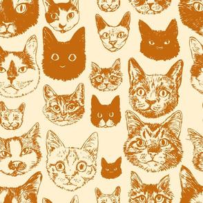 cats - burnt orange + cream