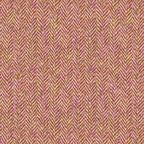 faux tweedy copper-pink-green herringbone tweed
